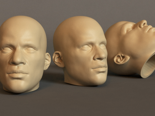 Generic Male Head 1/6 scale figure  - Variant 04 in White Strong & Flexible: Small