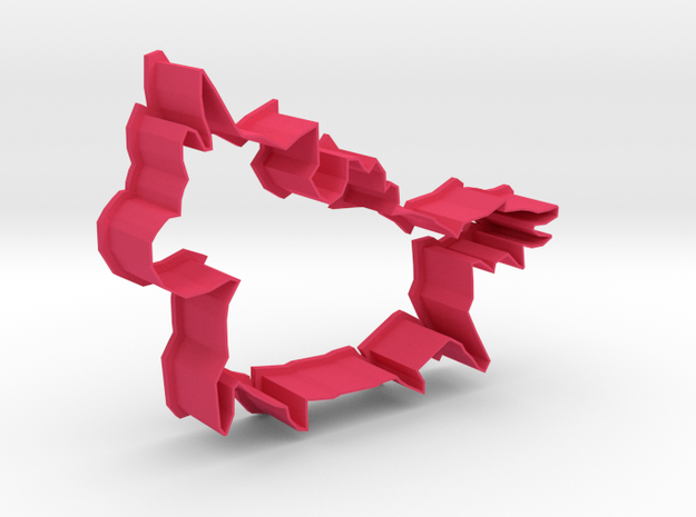 Small Pegacorn Cookie Cutter with big Belly in Pink Strong & Flexible Polished
