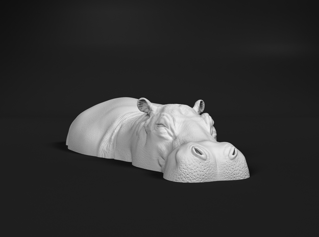 Hippopotamus 1:120 Lying in Water 2 in Smooth Fine Detail Plastic