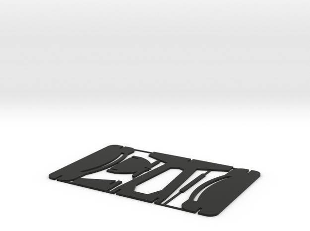 Card-Plane in Black Natural Versatile Plastic: Medium