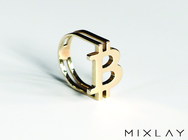 Bitcoin Ring 18 in Polished Brass