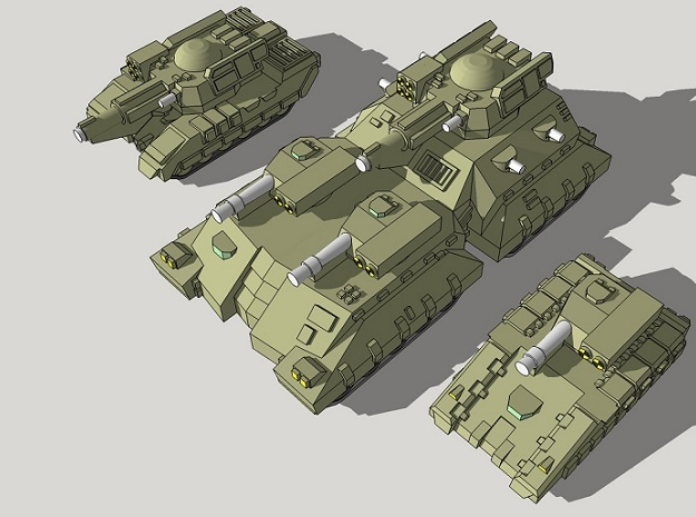 3mm Team Kukri Superheavy Tanks (2pcs) in Frosted Ultra Detail
