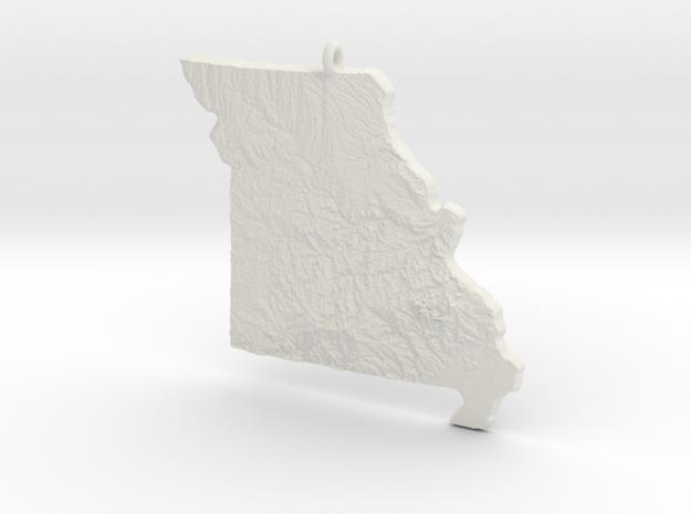 Missouri Christmas Ornament in White Natural Versatile Plastic