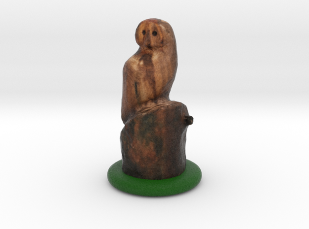 Owl on a Trunk Chainsaw Carving Figurine in Full Color Sandstone