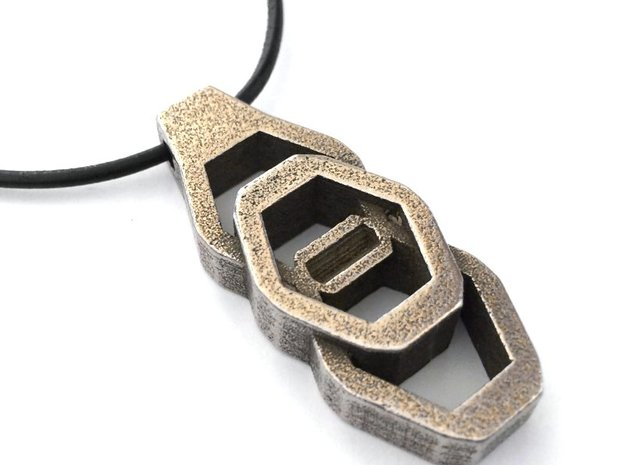 Vertical Industrial Hex Nut Slide Pendant  in Polished Bronzed Silver Steel