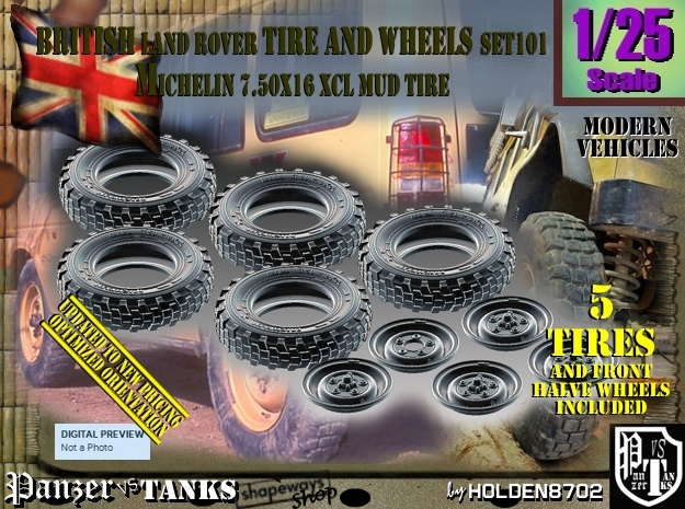 1/25 Land Rover XCL 750x16 Tire and wheels Set101