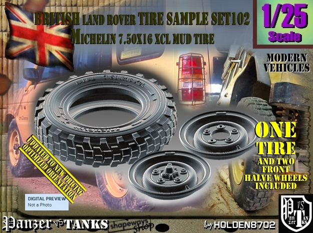 1/25 Land Ro XCL 750x16 Tire and Wh Sample Set102 in Frosted Ultra Detail