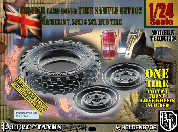 1/24 Land Ro XCL 750x16 Tire and Wh Sample Set102 in Frosted Ultra Detail