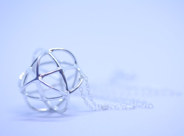 Pendant: Hugs and Kisses (X's and O's) in Fine Detail Polished Silver
