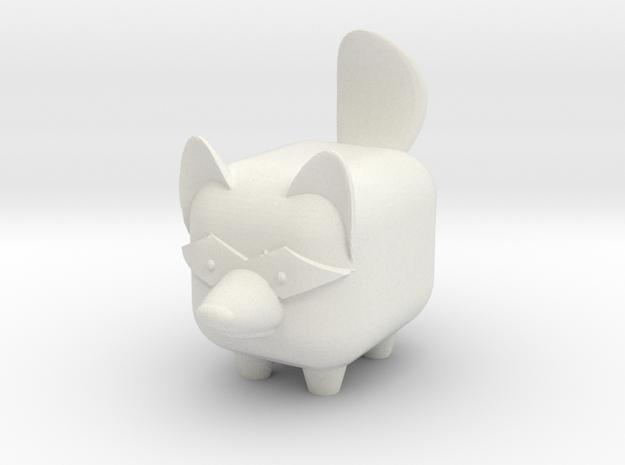 MINI-MALS! - Raffi-Raccoon in White Natural Versatile Plastic
