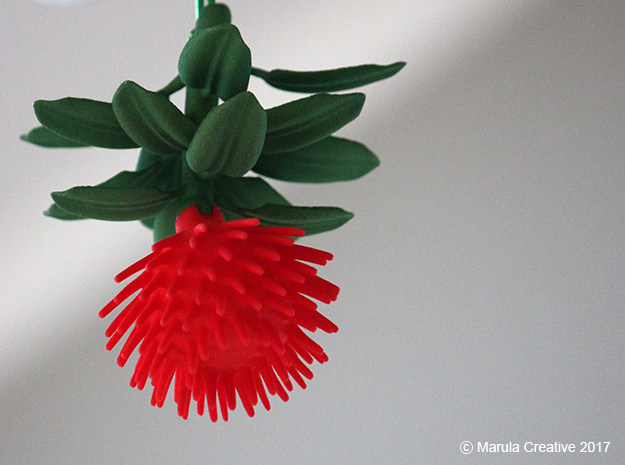 Pohutukawa flower (Christmas tree of New Zealand) in Red Processed Versatile Plastic