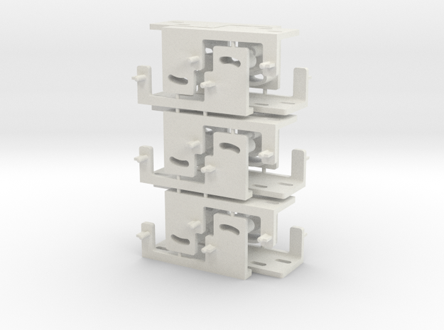 Railroad point, switch, turnout Servo Bracket x 12 in White Natural Versatile Plastic