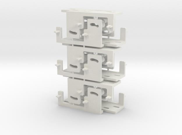 Railroad point, switch, turnout Servo Bracket x 12 in White Natural Versatile Plastic