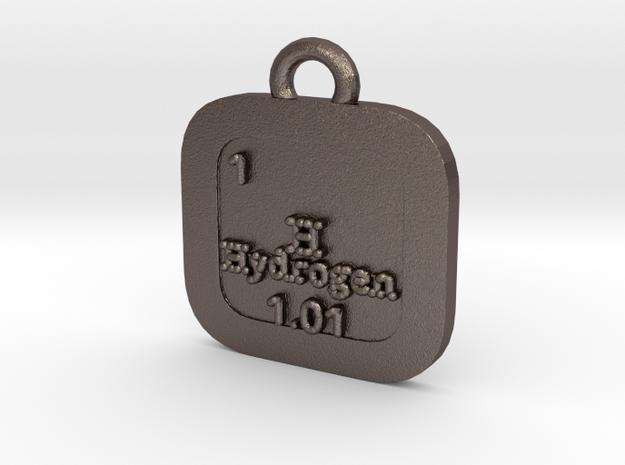 Hydrogen Pendant in Polished Bronzed Silver Steel