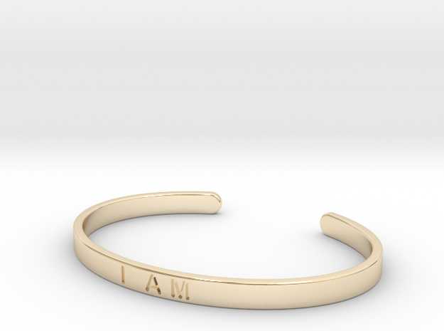 I Am Cuff in 14k Gold Plated Brass: Small