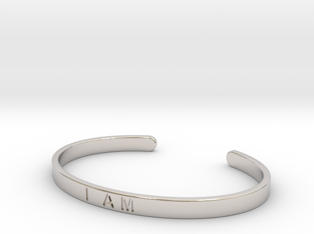 I Am Cuff in Rhodium Plated Brass: Small