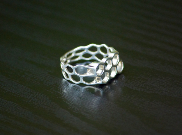 Double Hex Ring, Tapered, Size 8 in Polished Silver