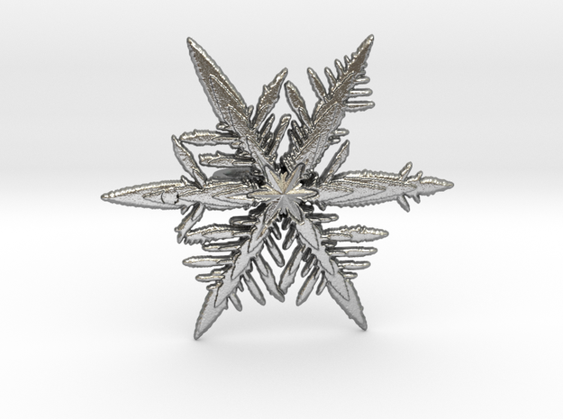 Snowflake pendent in Natural Silver