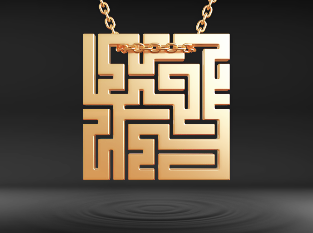 Labyrinth Pendant in Polished Gold Steel