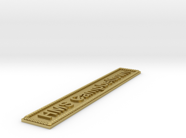 Nameplate HMS Campbeltown in Natural Brass