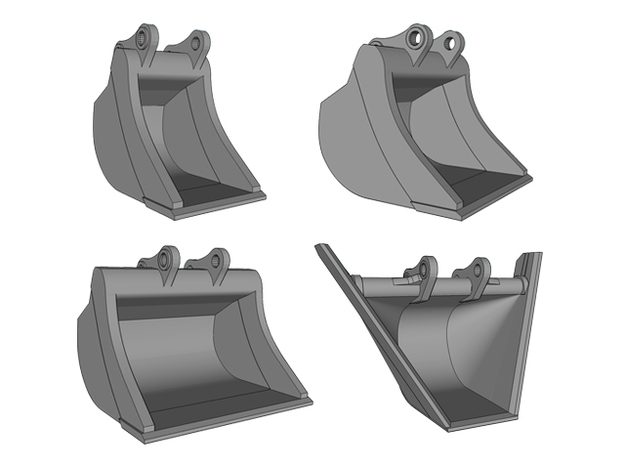 HO - Bucket Set nr.2 for 20-25t excavators in Smooth Fine Detail Plastic
