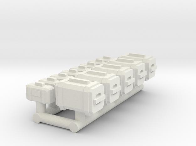 1/87 Scale Mini Containers & Personal Cases in White Natural Versatile Plastic