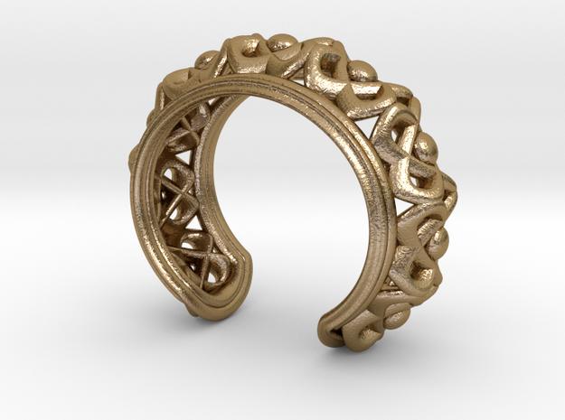 "Bracelet ""Wreath"" in Polished Gold Steel: Small"