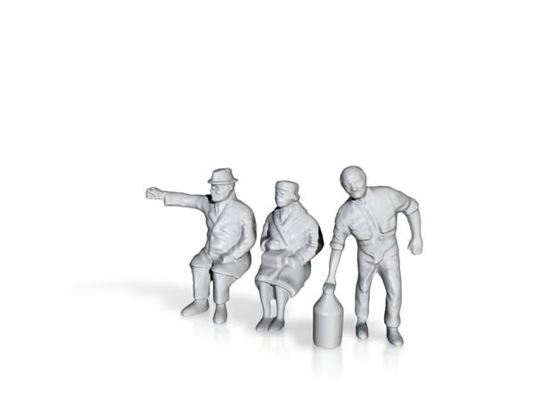 1/18 Auto Diorama Figure Set 01 in White Processed Versatile Plastic