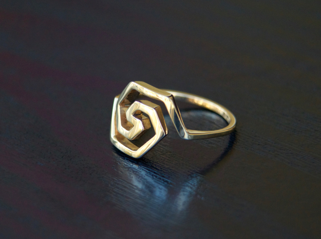 Bold Hexagonal Spiral Ring, Size 8 in Polished Bronze