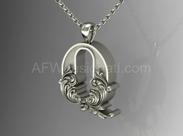 Scroll Letter Q – Initial Letter Pendant in Fine Detail Polished Silver