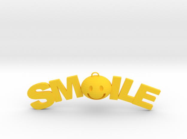 Smile necklace in Yellow Processed Versatile Plastic