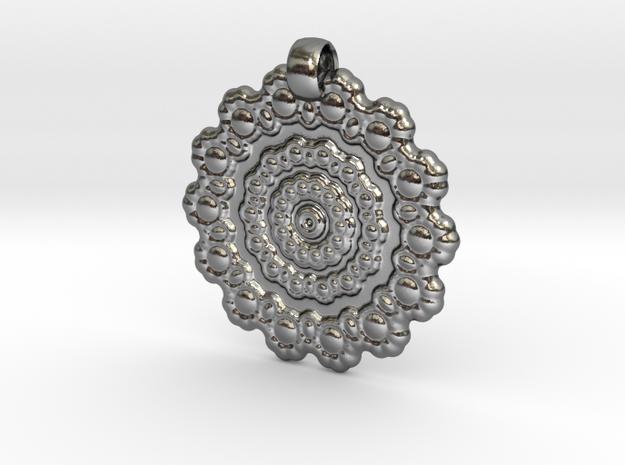 Mandala Rosco Pendant in Polished Silver