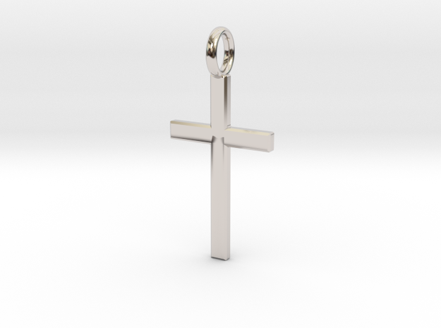 Crucifix - Pendant in Rhodium Plated Brass: Small