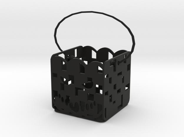 Square pumpkin basket in Black Natural Versatile Plastic