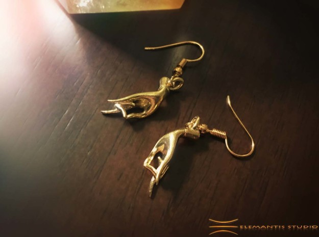 Karana Mudra V1 Earrings in Natural Brass