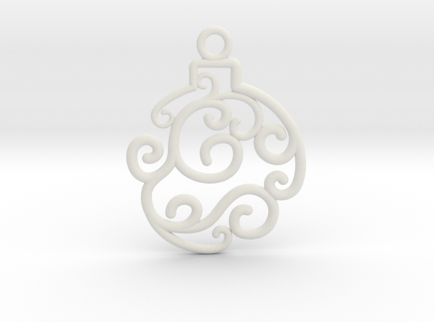 Holiday Swirl Ornament in White Natural Versatile Plastic