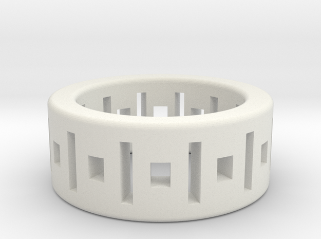 Geometry ring in White Natural Versatile Plastic