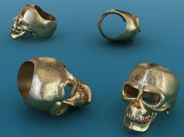 Skull Ring (large) 3d printed Gold plated matte render