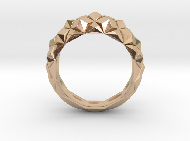 Geometric Cristal Ring 1 in 14k Rose Gold Plated Brass