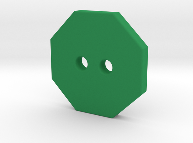 Octagonal Button 1 in Green Processed Versatile Plastic
