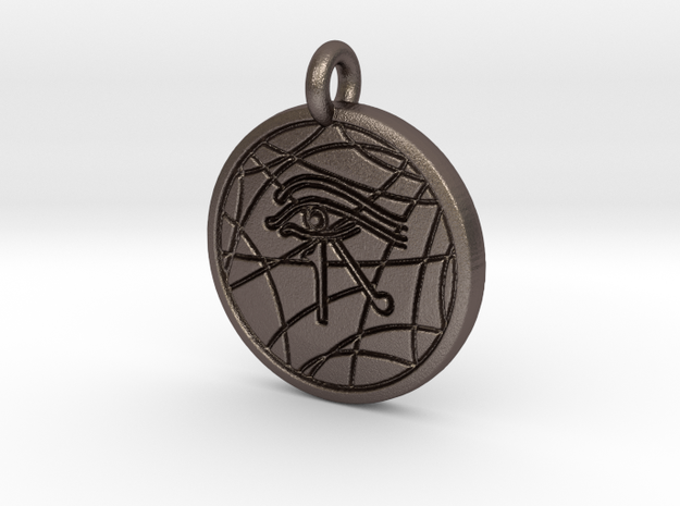 Stargate Eye of Ra pendant / necklace in Polished Bronzed Silver Steel