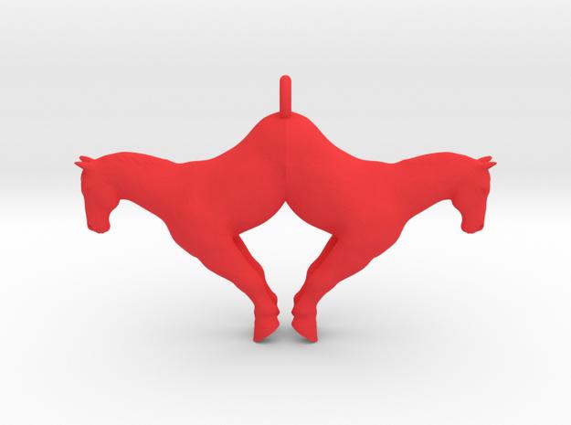 double horse pendant big in Red Processed Versatile Plastic