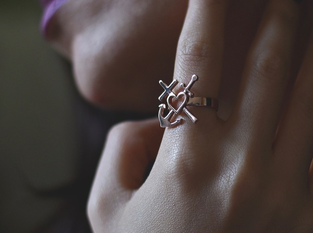 Adjustable Heart Ring in 14k Rose Gold Plated Brass