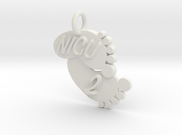 NICU 2 Keychain in White Natural Versatile Plastic