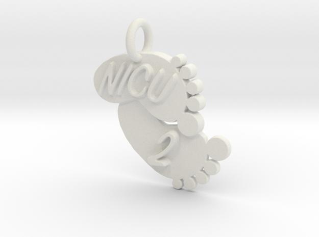 NICU 2 Keychain in White Natural Versatile Plastic