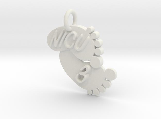 NICU 3 Keychain in White Natural Versatile Plastic