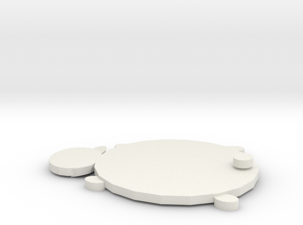 Bear Coaster in White Natural Versatile Plastic