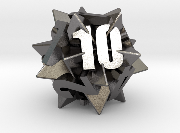 Icosatetrahedra d12 in Polished Nickel Steel