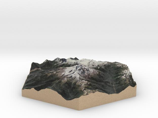 Model of Glacier Peak, WA (10cm, Full-Color) in Full Color Sandstone