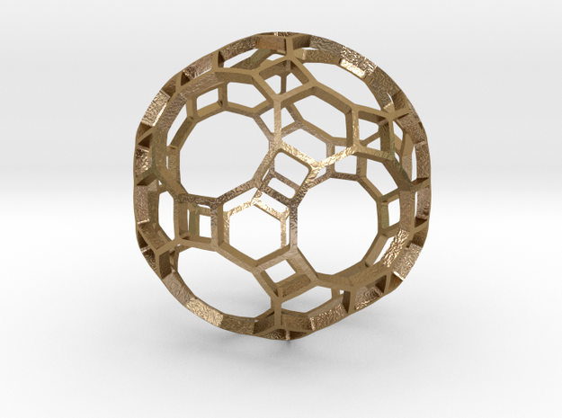 TRUNCATED_ICOSIDODECAHEDRON in Polished Gold Steel